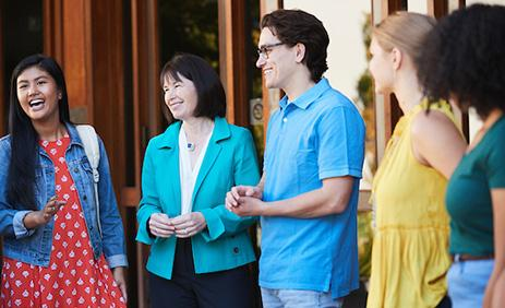 Dominican University of California President chats with students