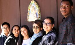 six dominican students posing with della robbia sculpture