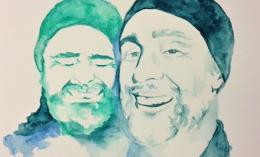 two men laughing pencil watercolor by alumna sabrina dunbar