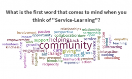 service-learning program image featuring with multiple words including community