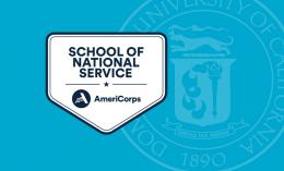 Badge for Dominican being named School of National Service by AmeriCorps