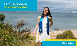 Image created for First Gen Student Success Story Series from photo of Michelle Chang posing above coastline