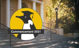 penguin graphic with text commencement 2021