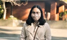 Photo of Transfer Student Jacquelyn Torres Wearing Protective Mask On Campus for HP image