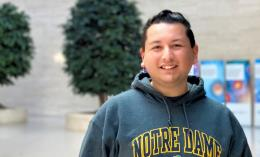 alum alejandro lopez ramirez photo wearing University of Notre Dame hoodie