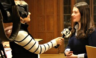 photo of allison kustic being interviewed by ktvu tv channel 2