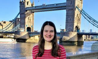 Allison Kustic in front of London Bridge
