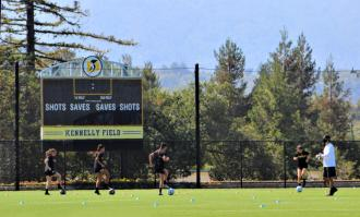photo of Dominican women's soccer team practicing with COVID guidelines on Kennelly Field