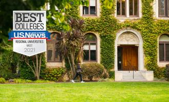 Guzman Hall ivy with U.S. News & World Report Best Colleges badge