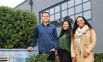 Dominican students Tianna Brown '19, Emma Tobola '19, and Brendan Adame '20, pose outside their new job site
