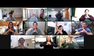 image of OT students doing online training via Zoom for tai chi certification