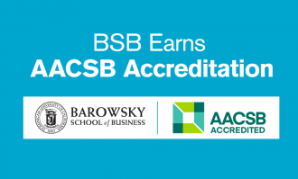 blue tile with bsb logo and text bsb earns aacsb accreditation