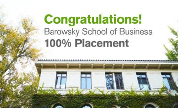 Image of top floor of Guzman Hall with graphic congratulating business school for 100% placement