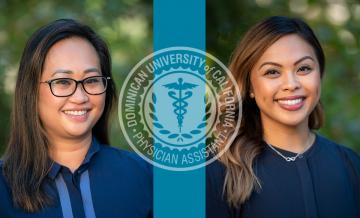 Photos of alumni Phyllis Sumibcay '18 and Jenniffer Andres '12 with logo of MSPAS program