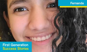 Image created for First Gen Student Success Story Series from head shot photo of Fernanda Galo Reyes