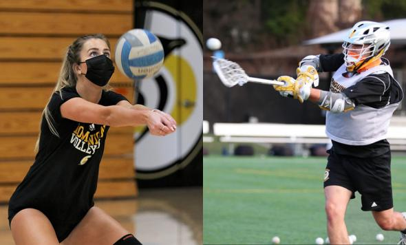 Action photos of Catherine Johnson (playing volleyball) and Maxwell Pierce (playing lacrosse) for HP news story about sports psychology class