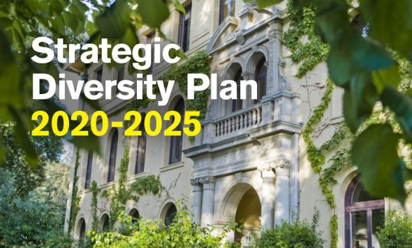 image created for strategic diversity plan 2020-2025 featuring graphic over photo of green ivy and main entrance to Guzman Hall