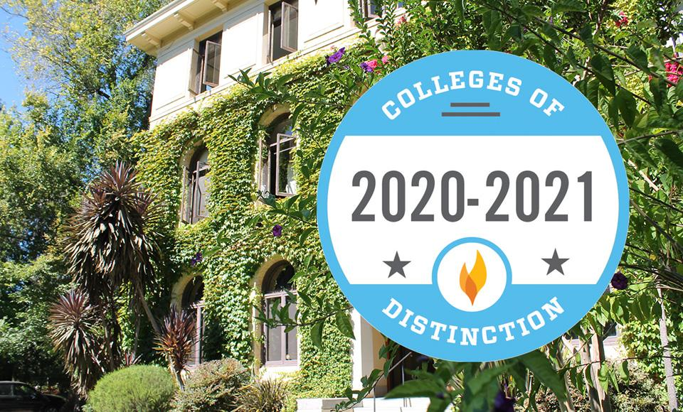colleges of distinction 2020-21 icon layered over a photo of Guzman Hall