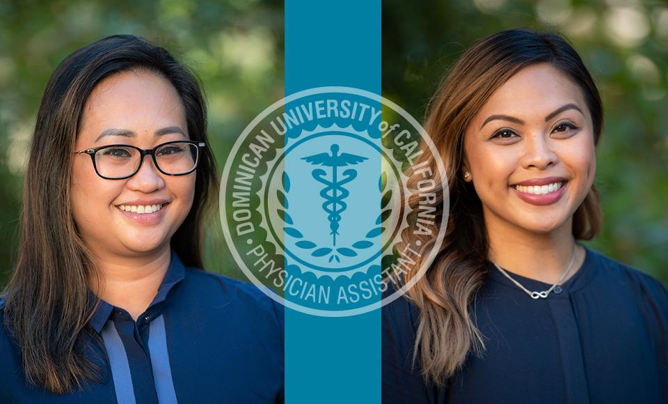 Alumni Phyllis Sumibcay '18 and Jenniffer Andres '12 with logo of MSPAS program
